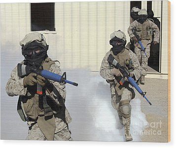 Marines Cross A Danger Area After Using Wood Print by Stocktrek Images
