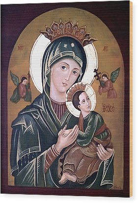 Mary And Jesus Wood Print by Lena Day