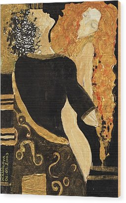 Meeting Gustav Klimt  Wood Print by Maya Manolova