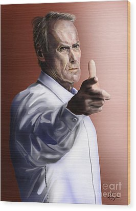 Men Must Know Their Limitations-clint Eastwood Wood Print by Reggie Duffie
