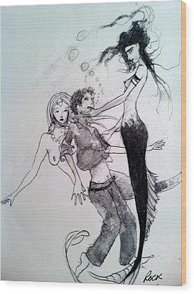 Mermaids Wood Print by Jackie Rock