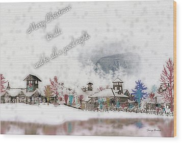 Merry Christmas - Stone Mountain Snowfall Art 4x6  Wood Print by George Bostian
