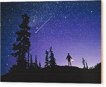 Meteor Wood Print by David Nunuk