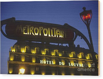 Metro Sign. Paris. France Wood Print by Bernard Jaubert