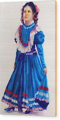 Mexco Srta In Blue Wood Print by Estela Robles