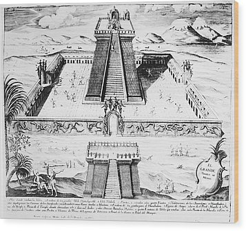 Mexico: Aztec Temple, 1765 Wood Print by Granger