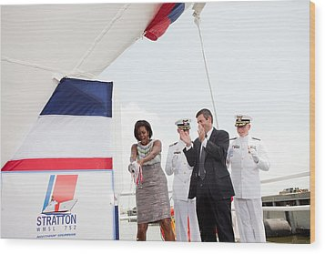 Michelle Obama Christens The Us Coast Wood Print by Everett