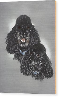Miniature Poodles Wood Print by Patricia Ivy