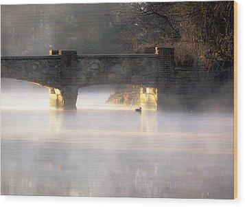 Misty Bridge Sunrise Wood Print by Vicki Jauron