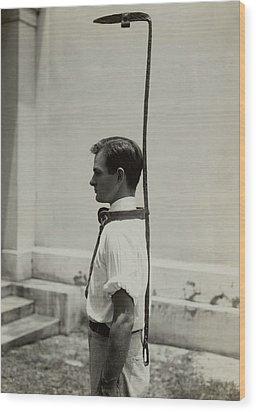 Model Wears A Slave Bell Rack, A Used Wood Print by Everett