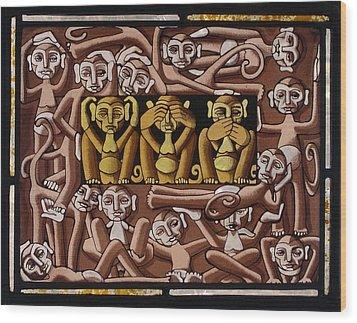 Monkeys Wood Print by Victoria Millard