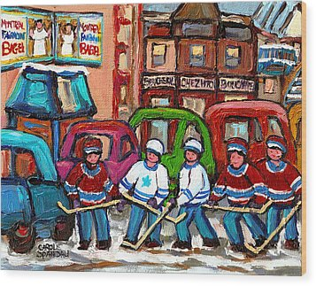 Montreal Bagels And Hockey Wood Print by Carole Spandau