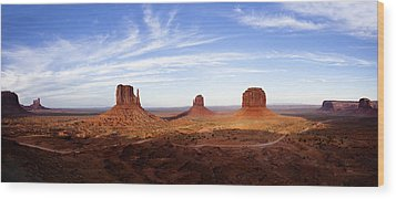 Monument Valley Panorama Wood Print by Andrew Soundarajan