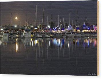 Moon Over The Marina Wood Print by Heidi Smith