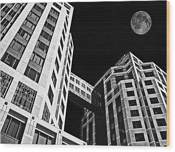 Moon Over Twin Towers 2 Wood Print by Samuel Sheats
