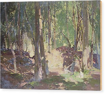 Morning In The Woods Wood Print by Harry Watson