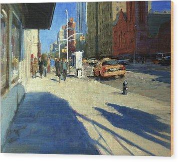 Morning Shadows On Amsterdam Avenue  Wood Print by Peter Salwen