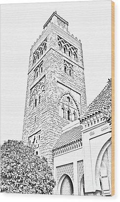 Morocco Pavilion Minaret Epcot Walt Disney World Prints Black And White Line Art Wood Print by Shawn O'Brien