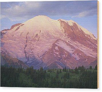 Mount Rainier At Sunrise Mount Rainier Wood Print by Tim Fitzharris