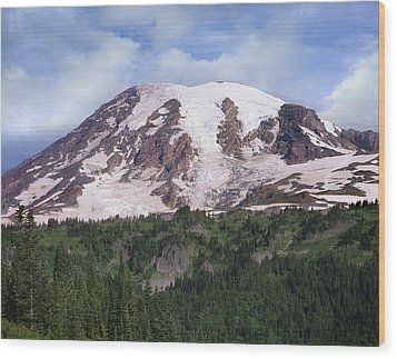 Mount Rainier With Coniferous Forest Wood Print by Tim Fitzharris
