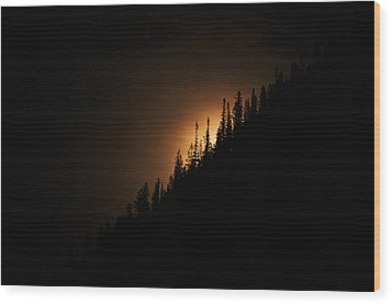 Mountain Glow Wood Print by Lisa  Spencer