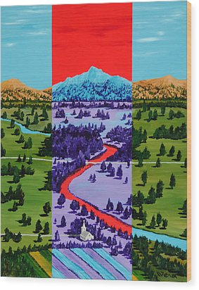 Mountain View Farm Wood Print by Randall Weidner