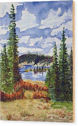 Mountian Lake Wood Print by Linda Pope