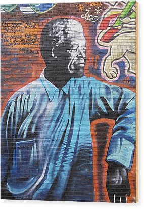 Mr. Nelson Mandela Wood Print by Juergen Weiss