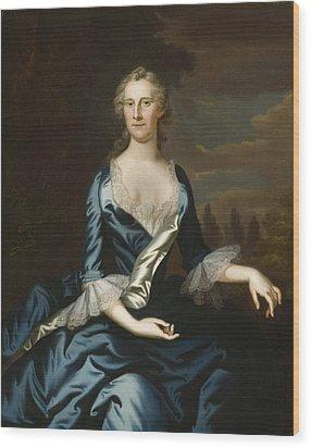 Mrs. Charles Carroll Of Annapolis Wood Print by John Wollaston