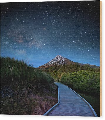 Mt. Ekmond At Night With Starlight Wood Print by Coolbiere Photograph
