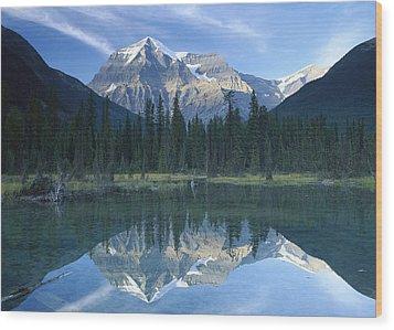 Mt Robson Highest Peak In The Canadian Wood Print by Tim Fitzharris
