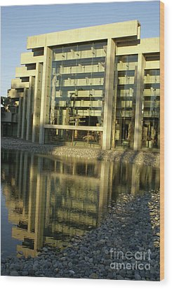 Museum Of Anthropology Reflection Vancouver Canada Wood Print by John  Mitchell