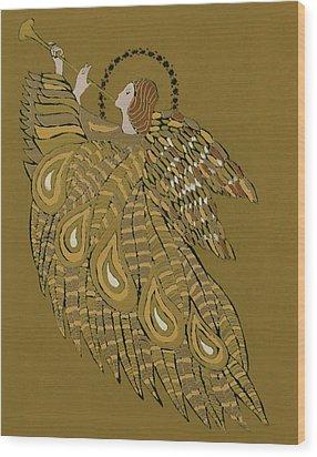 Musical Angel Wood Print by Gillian Lawson