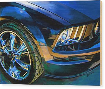 Mustang Wood Print by Robert Smith