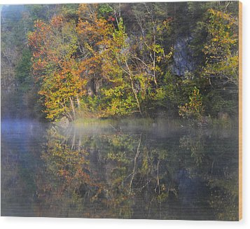 Mysty Morn On The Current Wood Print by Marty Koch