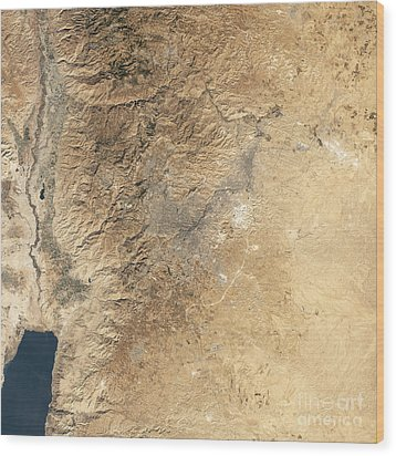 Natural-color Satellite View Of Amman Wood Print by Stocktrek Images