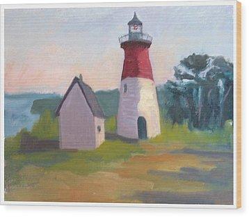 Nauset Lighthouse Cape Cod Wood Print by Suzanne Elliott