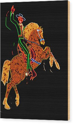 Neon Cowboy Las Vegas Wood Print by Garry Gay