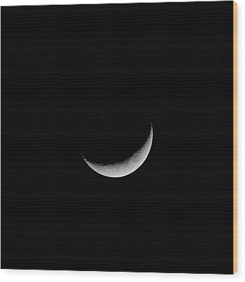 New Moon Wood Print by CP Cheah