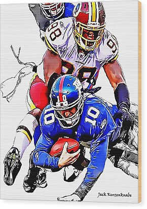 New York Giants Eli Manning -san Francisco 49ers Parys Haralson Wood Print by Jack K