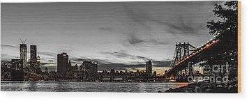 New Yorks Skyline At Night Colorkey Wood Print by Hannes Cmarits