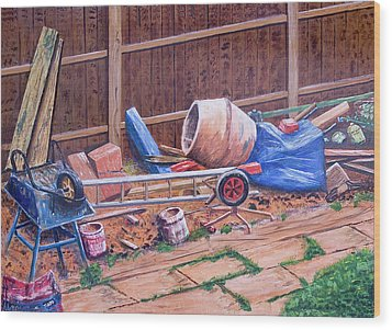 Next Doors Back Yard Wood Print by Aleck Rich Seddon