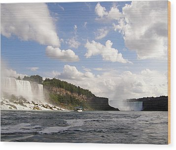 Niagara Falls View From The Maid Of The Mist Wood Print by Mark J Seefeldt