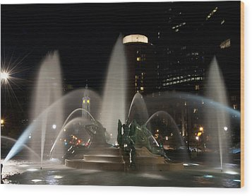 Night View Of Swann Fountain Wood Print by Bill Cannon