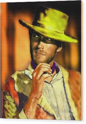 Nixo Clint Eastwood Wood Print by Nicholas Nixo