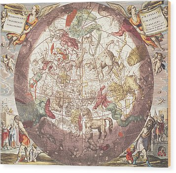 Northern Boreal Hemisphere From The Celestial Atlas Wood Print by Pieter Schenk