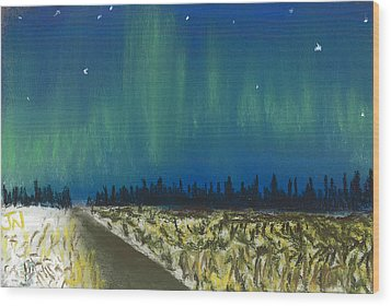 Northern Lights Road Trip Wood Print by Jackie Novak