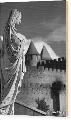 Notre Dame Carcassonne Wood Print by Robert Lacy