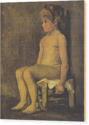 Nude Study Of A Little Gir Seated Wood Print by Vincent Van Gogh