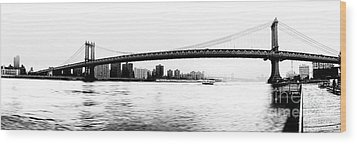 Nyc - Manhattan Bridge Wood Print by Hannes Cmarits